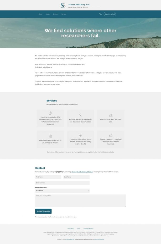 website design for independent financial advisors and accountants, north devon.